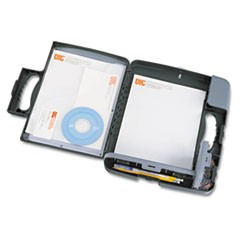 "Portable Storage Clipboard Case, 3/4"" Capacity, Holds 9w x 12h, Charcoal"