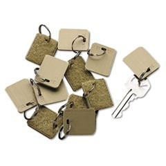 Extra Blank Hook and Loop Tags, Security-Backed, 1 1/8 x 1, Beige, 12/Pack
