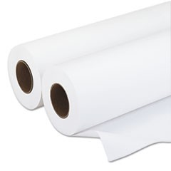 "Amerigo Wide-Format Paper, 3"" Core, 20 lb, 18"" x 500 ft, Smooth White, 2/Pack"