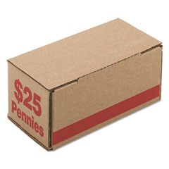 Corrugated Cardboard Coin Storage w/Denomination Printed On Side, Red