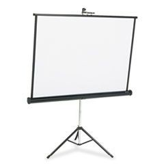 Portable Tripod Projection Screen, 50 x 50, White Matte, Black Steel Case