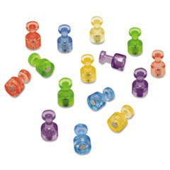 "1Magnetic ""Push Pins"", 3/4"" dia, Assorted Colors, 20/Pack"