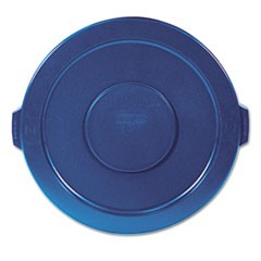 "Round Flat Top Lid, for 32 gal Round BRUTE Containers, 22.25"" diameter, Blue"