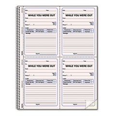 1Wirebound Message Book, 4 x 5 1/2, Two-Part, 200 Forms, 120 Alert Labels