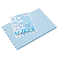 Tru-Ray Construction Paper, 76 lbs., 12 x 18, Sky Blue, 50 Sheets/Pack