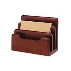 Wood Tones Desktop Sorter, Three Sections, Wood, Mahogany