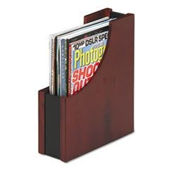 Wood and Faux Leather Magazine File, 3 1/2 x 10 x 11 13/16, Black/Mahogany