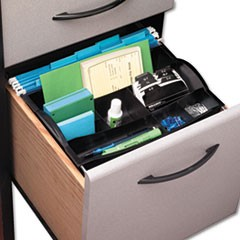 1Hanging Desk Drawer Organizer, Plastic, Black