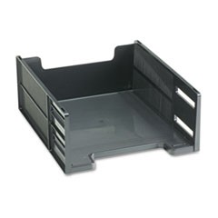 Stackable High Capacity Front Load Letter Tray, Polystyrene, Ebony