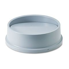 Swing Top Lid for Round Waste Container, Plastic, Gray