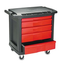 Five-Drawer Mobile Workcenter, 32 1/2w x 20d x 33 1/2h, Black Plastic Top
