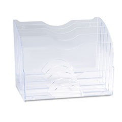 Two-Way Organizer, Five Sections, Plastic, 8 3/4 x 10 3/8 x 13 5/8, Clear