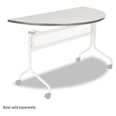 Impromptu Series Mobile Training Table Top, Half Round, 48w x 24d, Gray