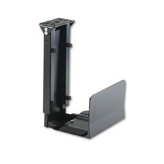 Ergo-Comfort Fixed-Mount Under Desk CPU Holder, 7w x 9-1/2d x 14h, Black