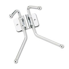 Metal Wall Rack, Two Ball-Tipped Double-Hooks, 6.5w x 3d x 7h, Chrome Metal