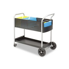 Scoot Mail Cart, One-Shelf, 22.5w x 39.5d x 40.75h, Black/Silver