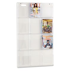 Reveal Clear Literature Displays, 12 Compartments, 30w x 2d x 49h, Clear