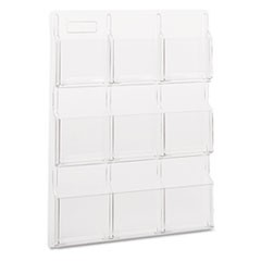 Reveal Clear Literature Displays, 9 Compartments, 30w x 2d x 36.75h, Clear
