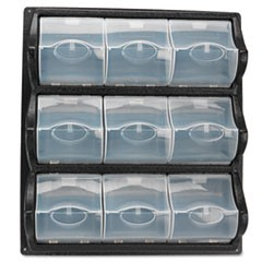 Polypropylene Panel Storage w/9 Bins, 18 1/2 x 5 1/4 x 20 1/2, Black