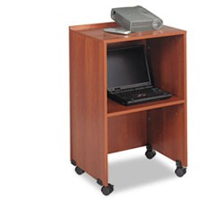 Lectern Base/Media Cart, 21-1/4w x 17-1/2d x 33-3/4h, Cherry