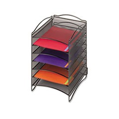 Onyx Steel Mesh Lliterature Sorter, Six Compartments, Black