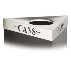 "Trifecta Waste Receptacle Lid, Laser Cut ""CANS"" Inscription, Stainless Steel"