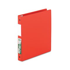 "Clean Touch Antimicrobial Locking Round Ring Binder, 11 x 8-1/2, 1"" Cap, Red"