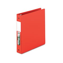 "Clean Touch Antimicrobial Locking Round Ring Binder, 11 x 8-1/2, 1-1/2"" Cap, Red"
