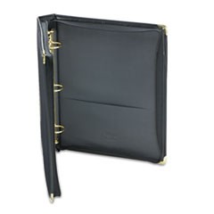 "Classic Collection Zippered Ring Binder, 11 x 8 1/2, 1 1/2"" Cap, Black"