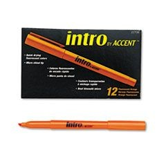 Intro Highlighters, Chisel Tip, Fluorescent Orange, Dozen