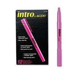 Intro Highlighters, Chisel Tip, Fluorescent Pink, Dozen