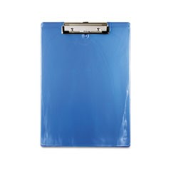 "1Plastic Clipboard, 1/2"" Capacity, 8 1/2 x 12 Sheets, Ice Blue"