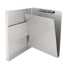 "Snapak Aluminum Side-Open Forms Folder, 1/2"" Clip Cap, 8 1/2 x 12 Sheets, Silver"