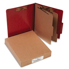 Presstex 20-Point Classification Folders, Letter, Six-Section, Red, 10/Box