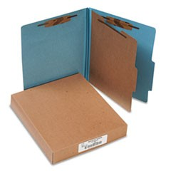 Pressboard 25-Pt. Classification Folders, Letter, Four-Section, Sky Blue, 10/Box