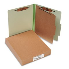 Pressboard 25-Pt. Classification Folder, Letter,4-Section, Leaf Green, 10/Box