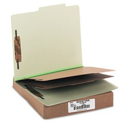 Pressboard 25-Pt. Classification Folder, Letter, Six-Section, Leaf Green, 10/Box