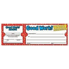 Good Work Ticket Awards, 8 1/2w x 2 3/4h, 100 2-Part Tickets/Pack