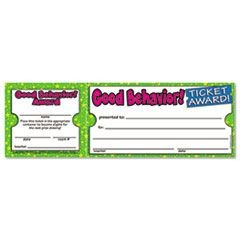 Good Behavior Ticket Awards, 8 1/2w x 2 3/4h, 100 2-Part Tickets/Pack