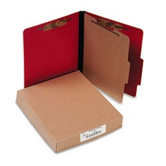 Presstex Classification Folders, Letter, Four-Section, Executive Red, 10/Box