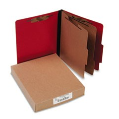 Presstex Classification Folders, Letter, Six-Section, Executive Red, 10/Box