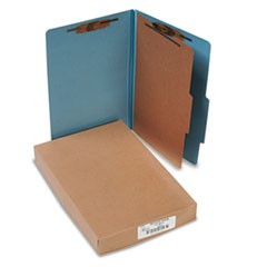 Pressboard 25-Pt. Classification Folders, Legal, Four-Section, Sky Blue, 10/Box
