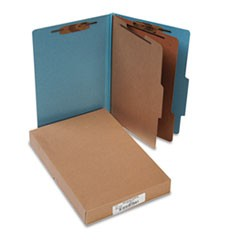 Pressboard 25-Pt. Classification Folders, Legal, Six-Section, Sky Blue, 10/Box
