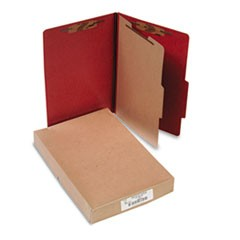 Pressboard 25-Pt. Classification Folder, Legal, Four-Section, Earth Red, 10/Box