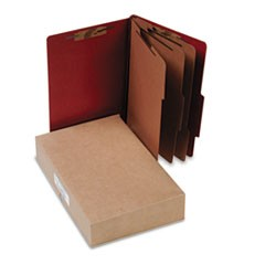 Pressboard 25-Pt. Classification Folder, Legal, Eight-Section, Earth Red, 10/Box