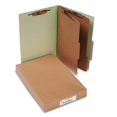 Pressboard 25-Pt. Classification Folders, Legal, Six-Section, Leaf Green, 10/Box