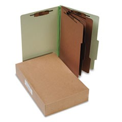 Pressboard 25-Pt. Classification Folders, Legal, 8-Section, Leaf Green, 10/Box