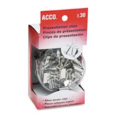 Presentation Clips, Steel/Nickel, Assorted Size Clips, Silver, 30/Box