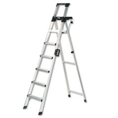 Eight-Foot Lightweight Aluminum Folding Step Ladder w/Leg Lock & Handle, 300lb