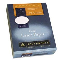 25% Cotton Laser Paper, White, 24 lbs., Smooth Finish, 8-1/2 x 11,  500/Box